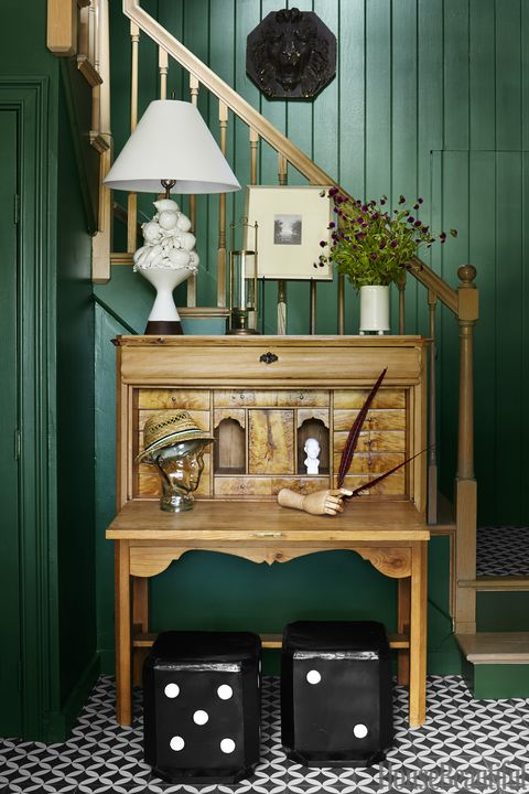 Furniture, Green, Room, Hutch, Interior design, Table, House, Desk, Cabinetry,