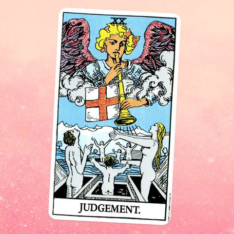 the judgement card for tarot, showing an angel blowing a trumpet and nude people rising from their graves