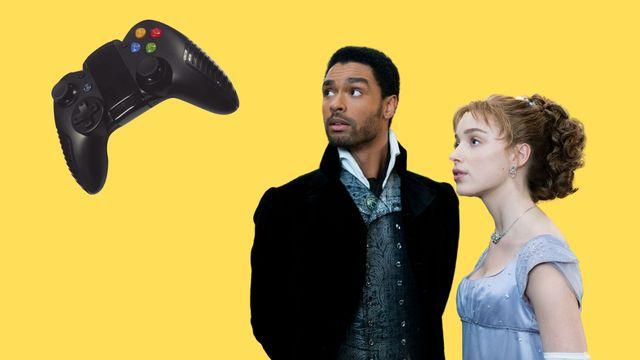 regÉ jean page y phoebe dynevor protagonistas de la serie de netflix los bridgerton miran atentamente los mandos de un videojuego
