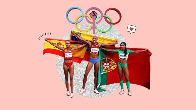 atletas olímpicas con las banderas de sus países