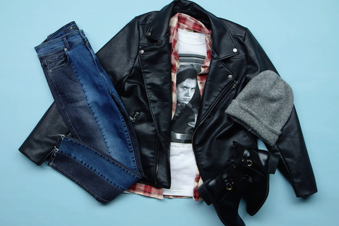 Clothing, Jacket, Leather, Outerwear, Leather jacket, Textile, Material property, Sleeve,
