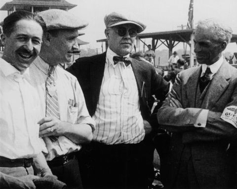 jules goux, barney oldfield and henry ford, indianapolis, 1921