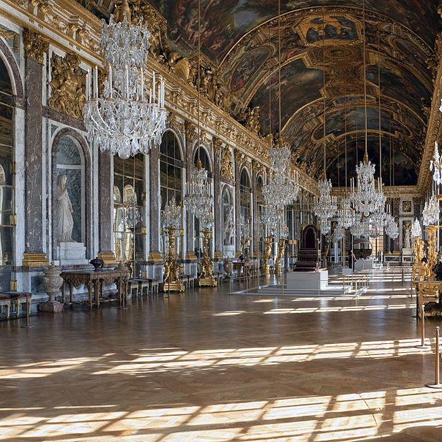 Grande Galerie or Galerie des Glaces (The Hall of Mirrors) in Palace of Versailles