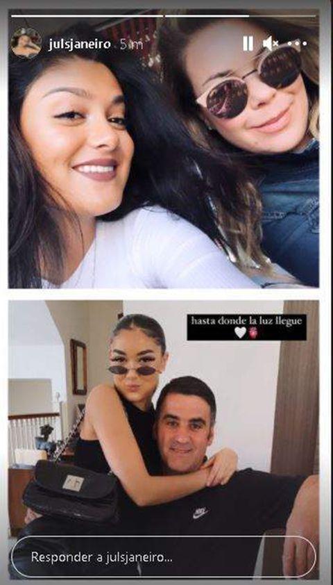 julia janeiro comparte en sus stories de instagram una fotografía junto a sus padres