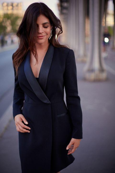 Clothing, Black, Suit, Dress, Formal wear, Fashion model, Beauty, Fashion, Photo shoot, Neck,