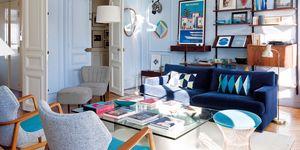 Piso en París decorado con tonos azules