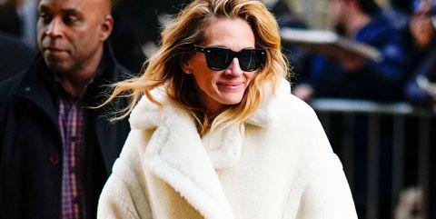 Eyewear, Street fashion, White, Clothing, Sunglasses, Fashion, Fur, Outerwear, Coat, Fur clothing,