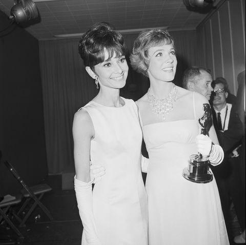 Audrey Hepburn and Julie Andrews with Oscar