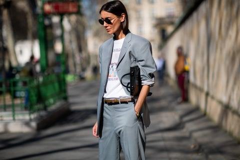 White, Street fashion, Clothing, Fashion, Suit, Blazer, Outerwear, Jacket, Eyewear, Sunglasses,