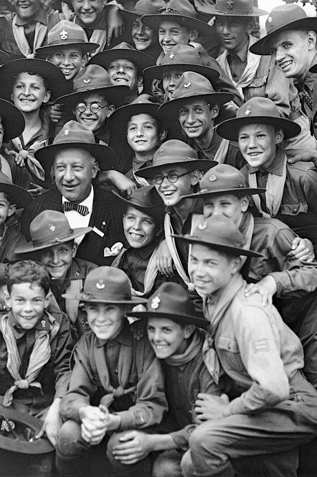 Al Smith Posing With Boy Scouts