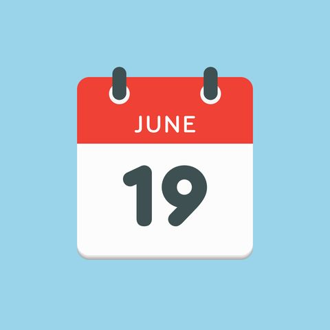 icon calendar day   19 june days f the year vector illustration flat style date day of month sunday, monday, tuesday, wednesday, thursday, friday, saturday holidays in summer june