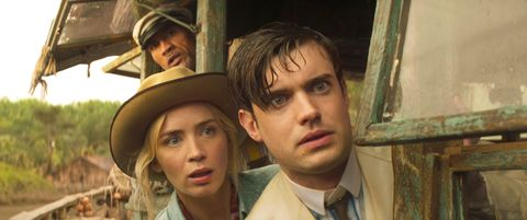 dwayne johnson as frank wolff, emily blunt as lily houghton and jack whitehall as macgregor houghton in jungle cruise