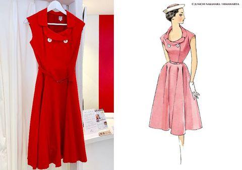 25ans9月号で、元花組トップ娘役の仙名彩世さんが着こなしてくださったのがこちらのワンピース。  洋服のスタイル画を数多く描いた中原淳一さん。そのイラストを元にした復刻ワンピースが十数型受注販売されています。  こちらは「ダブルカラーワンピース」と名付けられたもの(¥78,000)。イラストではピンクでしたが、はっきりとした赤が仙名さんにお似合いでした。吊るした写真よりも、着るともう少しフィット&フレアなシルエットに。  9月号の宝塚ogのビューティ特集では、元娘役おふたりの美意識の高さ、指先まで行き届いたポージングの美しさをお伝えしたく、イラストの女性たちの美しいポーズのイメージで撮影をした次第です。  中原淳一さんの奥様は、元宝塚のトップスターの 葦原邦子というのにも、一つのご縁を感じました。