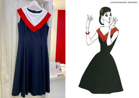 こちらは元花組娘役スターの城妃美伶さんが着用した「ケープカラーワンピース」。きっぱりした色ながら、ガーリーなかわいらしさもあるタイプです(¥73,000)