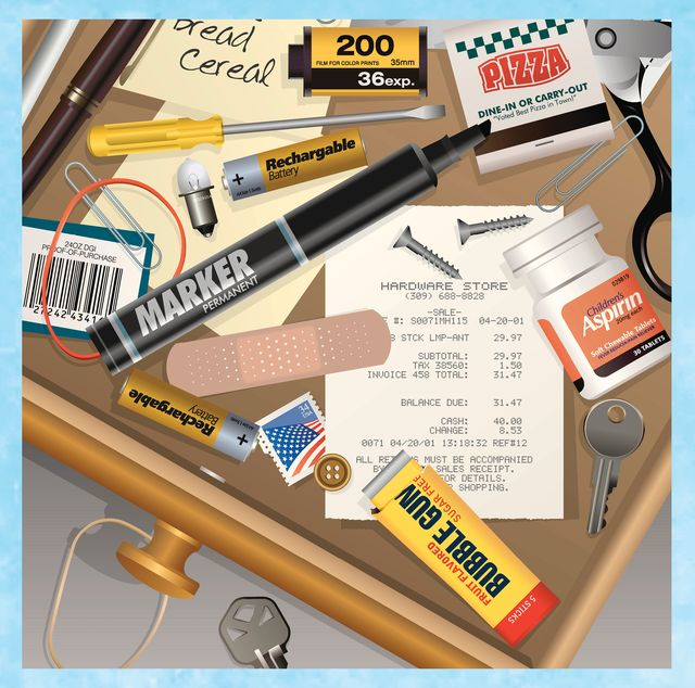 junk drawer filled with miscellaneous items