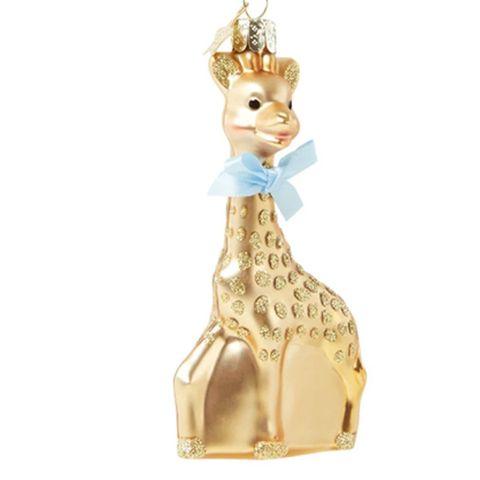 gouden giraf kersthanger met blauwe strik