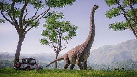 un coche vislumbra un dinosaurio gigante en jurassic park