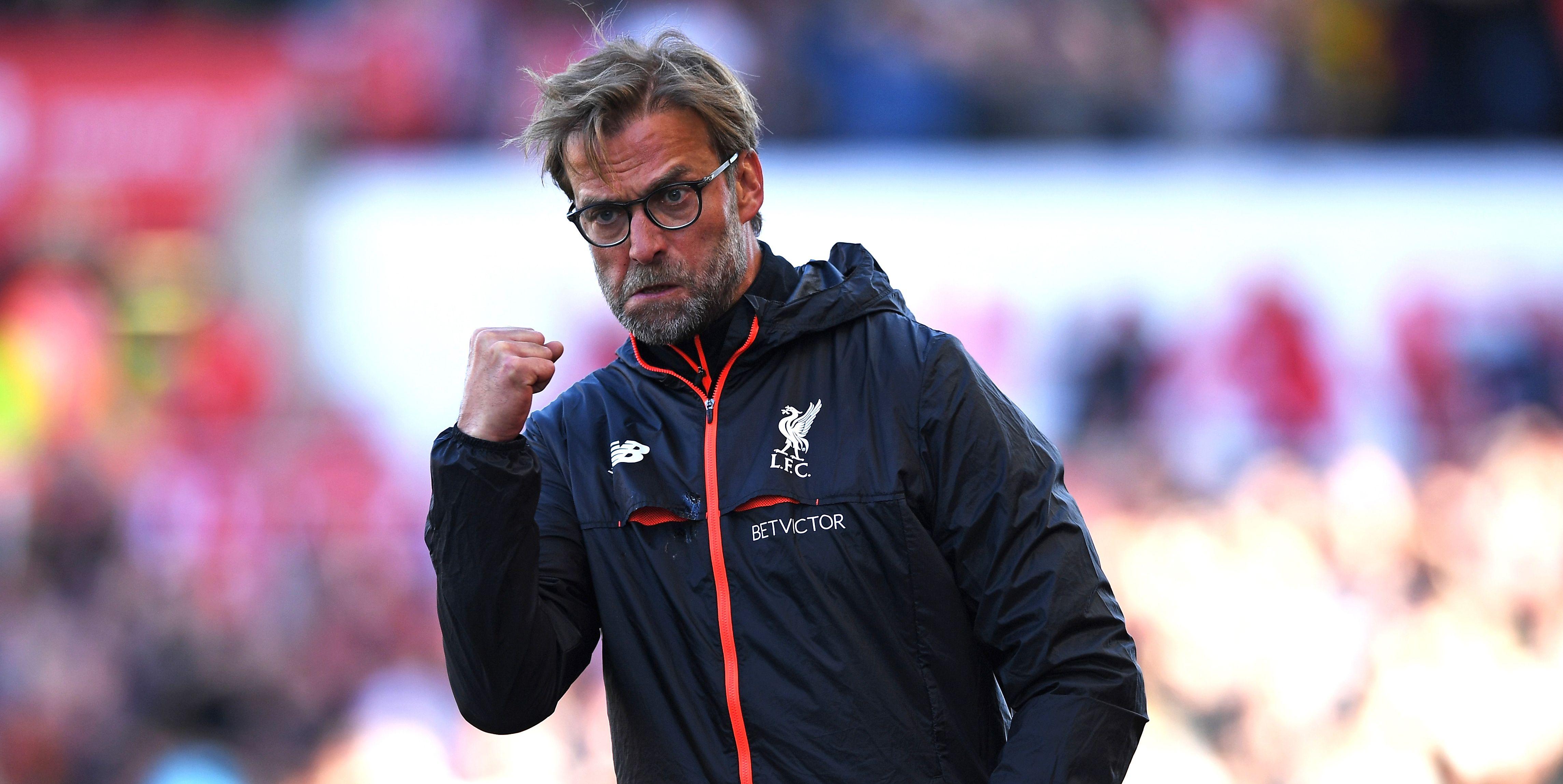 Liverpool's Jurgen Klopp celebrates a Premier League win.