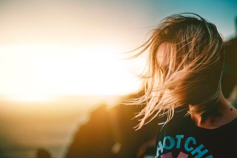 Hair, Sky, Light, Blond, Sunlight, Backlighting, Yellow, Beauty, Hairstyle, Surfer hair,