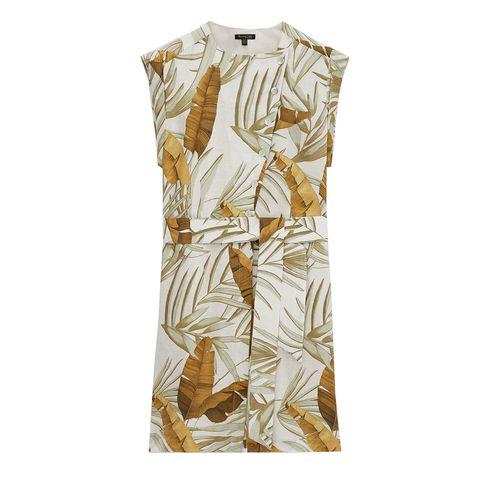 linnen mini jurk met tropische print in bruine en beige tinten met strikceintuur en knopen