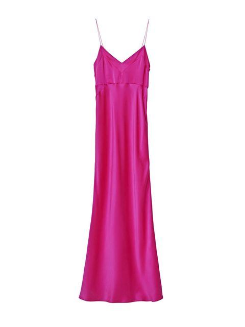 Clothing, Pink, Dress, Day dress, Magenta, Nightgown, camisoles, Nightwear, Satin, Neck,