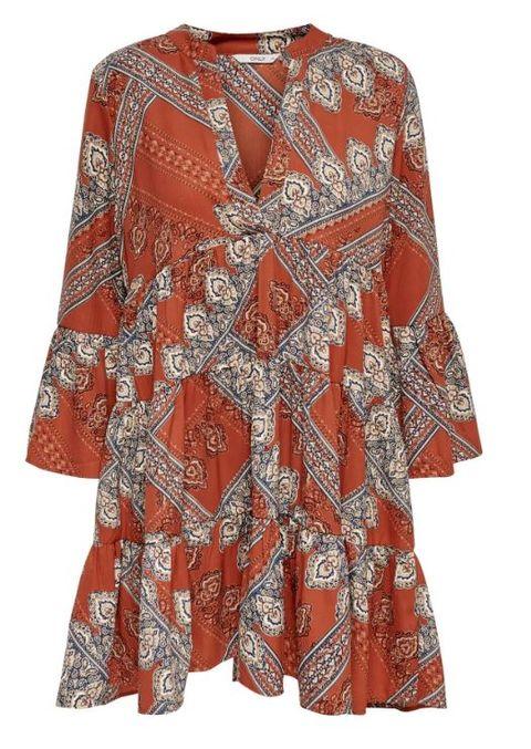 Clothing, Sleeve, Orange, Day dress, Blouse, Dress, Neck, Outerwear, Pattern, Top,