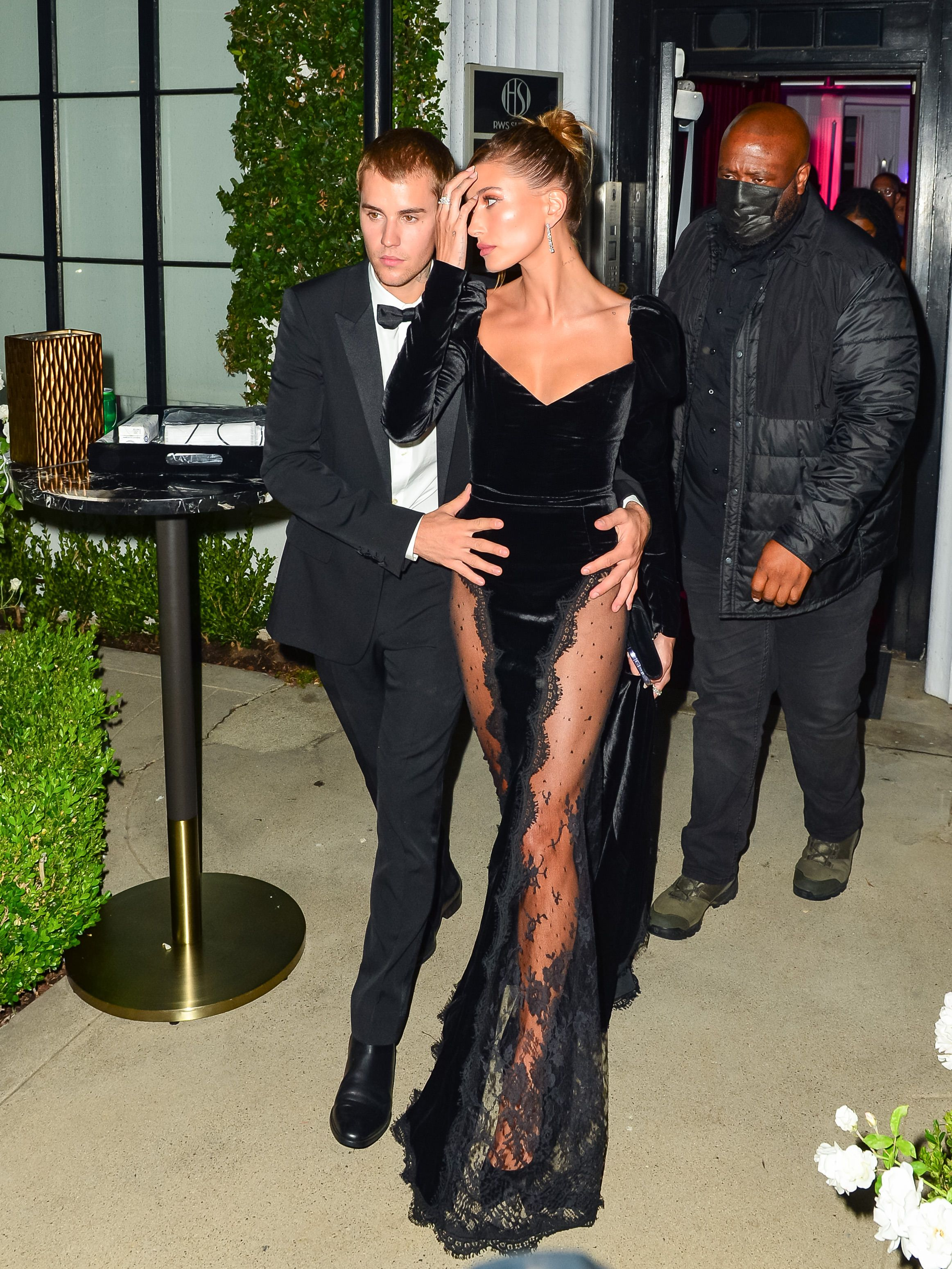 Hailey Bieber Wears Thigh-High Leg Slit Dress With Justin for Art Gallery  Auction