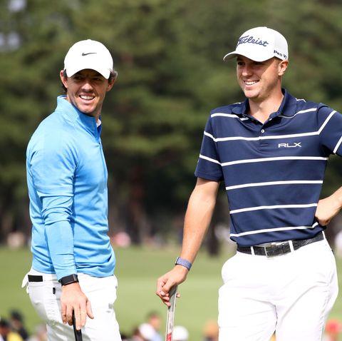 Pro Golfers Rory McIlroy and Justin Thomas ride Peloton