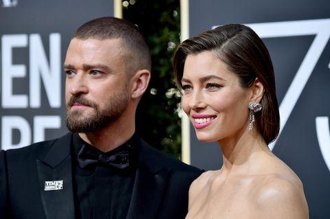 Justin Timberlake in pak en Jessica Biel in een jurk tijdens de 75e jaarlijkse GoldenGlobe Awards.