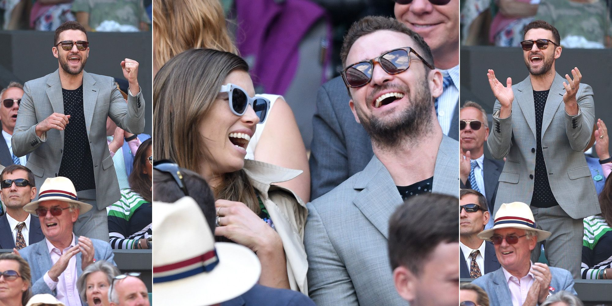 Justin Timberlake en Jessica Biel op de tribune van Wimbledon 2018 voor Serena Williams