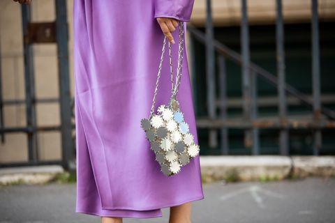 street style paris fashion week haute couture fall winter 2021 2022 day three justyna czerniak wears paco rabanne