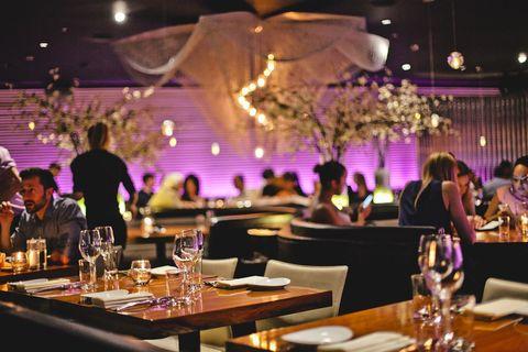 Function hall, Wedding banquet, Rehearsal dinner, Decoration, Purple, Lighting, Event, Banquet, Design, Party,