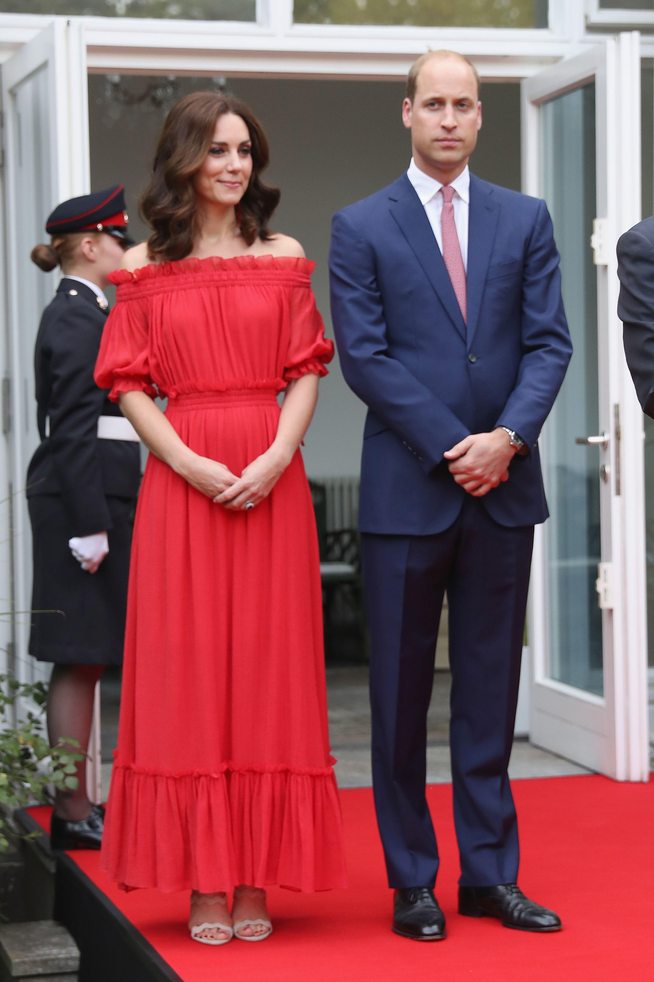 Kate Middleton wearing red