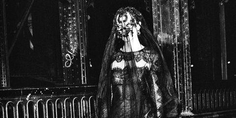 Black, Black-and-white, Monochrome, Standing, Fashion, Outerwear, Photography, Monochrome photography, Gothic fashion, Architecture,
