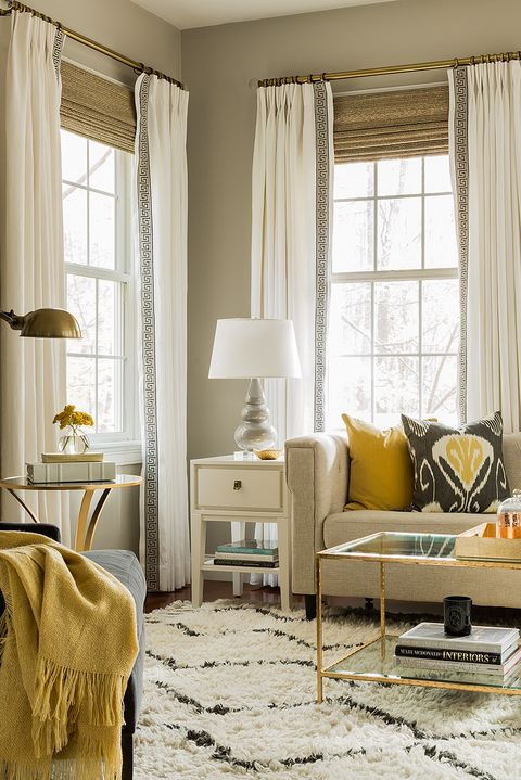 Living room, Room, Furniture, White, Interior design, Yellow, Curtain, Property, Couch, Home,