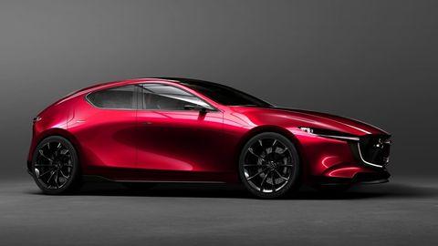 Land vehicle, Vehicle, Car, Automotive design, Red, Sports car, Mazda, Mid-size car, Concept car, Compact car,