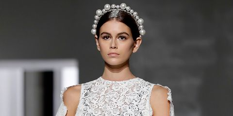 Kaia Gerber presents a creation by Givenchy during the 2019 Spring-Summer Haute Couture