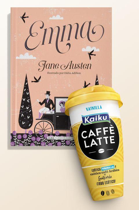 El café Kaiku Caffè Latte Vainilla y el libro 'Emma', de Jane Austen.