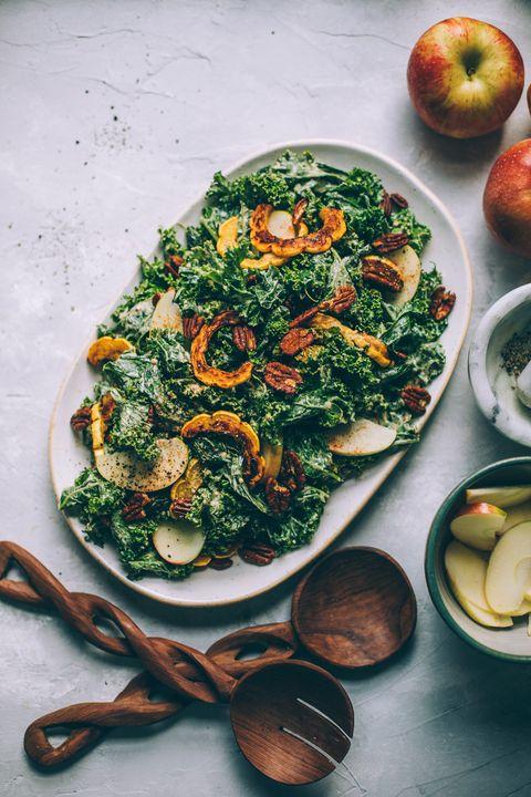 kale caesar salad with delicata squash
