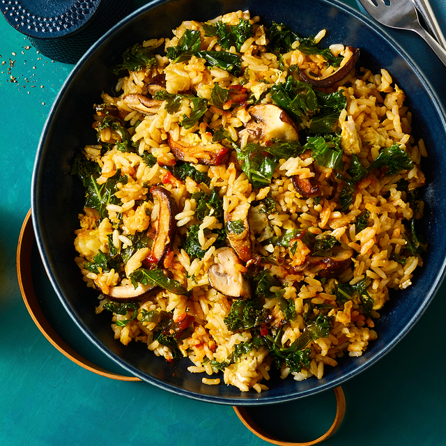 kale and mushroom fried rice