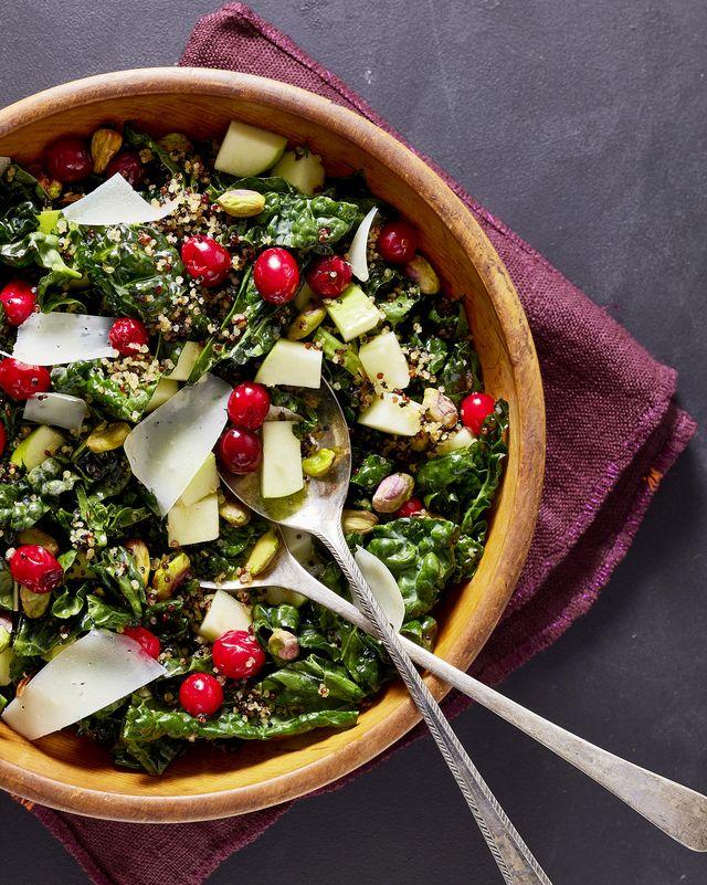 kale salad with crispy quinoa and cranberries