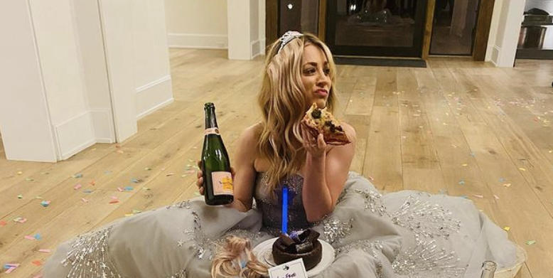 Kaley Cuoco Posted A Photo With Pizza And Bubbly Following Her Golden Globes Loss - Delish.com