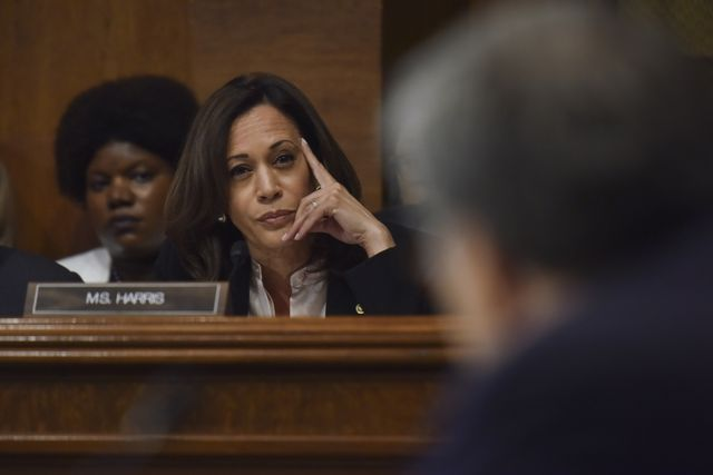 washington, dc   may 1senator kamala harris d ca questions attorney general william barr as barr testifies before the senate judiciary committee at the dirksen building on wednesday, may 1, 2019, in washington, dc  the hearing is to discuss robert s mueller iii's investigation of russian interference in the 2016 presidential electionphoto by jahi chikwendiuthe washington post