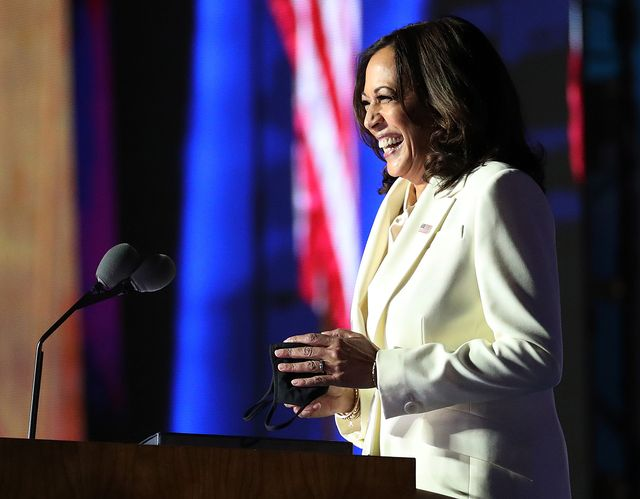 wilmington, delaware   november 07  vice president elect kamala harris speaks on stage at the chase center before president elect joe biden's address to the nation november 07, 2020 in wilmington, delaware after four days of counting the high volume of mail in ballots in key battleground states due to the coronavirus pandemic, the race was called for biden after a contentious election battle against incumbent republican president donald trump photo by drew angerergetty images