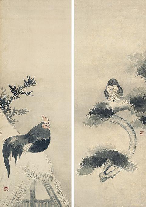 梟鶏図(きょうけいず) 狩野山雪筆 2幅 紙本墨画淡彩 日本・江戸時代 17世紀 根津美術館蔵