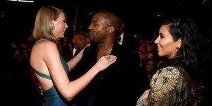 Taylor Swift, Kanye West en Kim Kardashian tijdens een awardshow