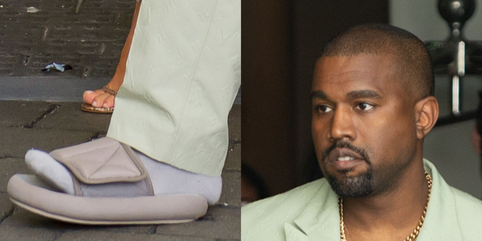 9deaf25c003 Kanye West Wore Very Small Slides to 2 Chainz Wedding in Miami -- Kim  Kardashian Yeezy Slides