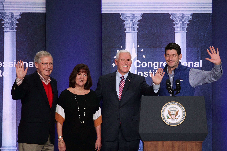 Mike and Karen Pence alongside former Speaker Paul Ryan and Senator Mitch McConnell.