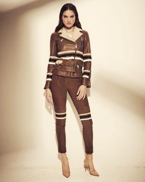 Clothing, Fashion model, Fashion, Jeans, Brown, Beauty, Waist, Outerwear, Fashion design, Leg,