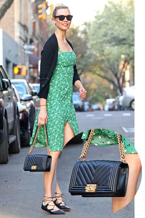 EXCLUSIVE: Karlie Kloss steps out in green floral dress